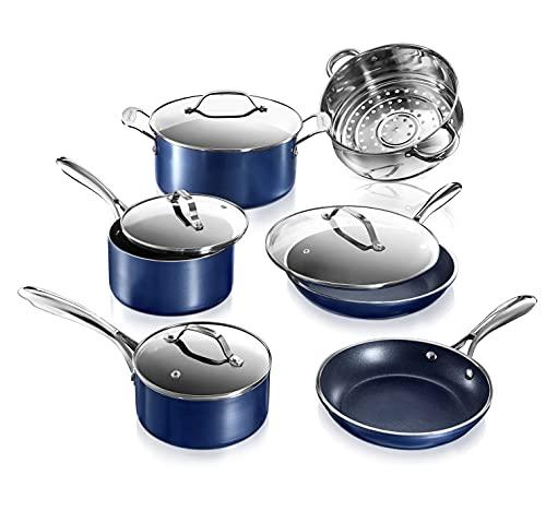 Granitestone Blue Cookware Sets Nonstick Pots and Pans Set– 10pc Kitchen...