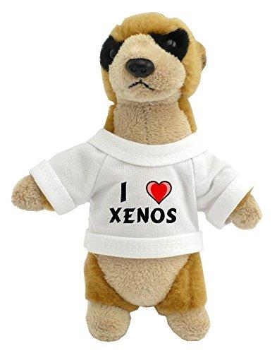 Suricata personalizada de peluche (juguete) con Amo Xenos en la camiseta (nombre de pila/apellido/apodo)