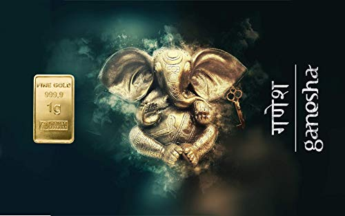 Deutsches Goldkontor 1,0 Gramm Feingold Motiv-Karte Ganesha Glückssymbol Goldbarren / 999,9 Gold