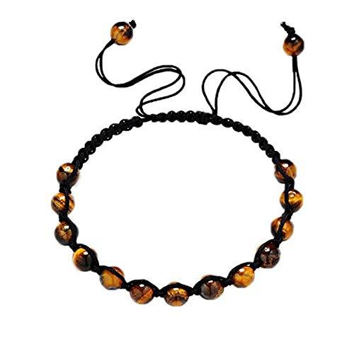 KEATTL Bracelet Femme,Bricolage Noir Manuel Corde Tressée Monochrome Yoga Perles Équilibrées Chanceux Bracelet Bijoux Cadeau (C)