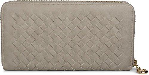 styleBREAKER Geldbörse in Flechtoptik, umlaufender Reißverschluss, Portemonnaie, Damen 02040088, Farbe::Hellgrau