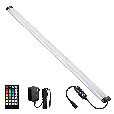 LAIFUNI Dimmable Under Cabinet Lighting, RGB LED Light Bar, RF Remote Control Lamp, Multicolor Under Counter Lights for Desk, Room, Cupboard, Hallway, Shelf, Closet (24 Inch)