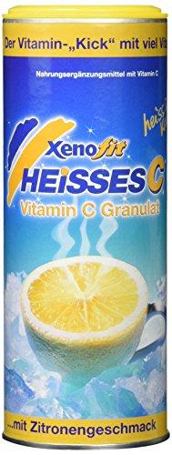 Xenofit HEISSES C | mit 2,5g Vitamin C je 100g | vegan | glutenfrei | fettfrei | arm an gesättigten Fettsäuren | mit Traubenzucker | Vitamin C-Getränk | 30 Portionen à 200ml | 270g | Zitrone