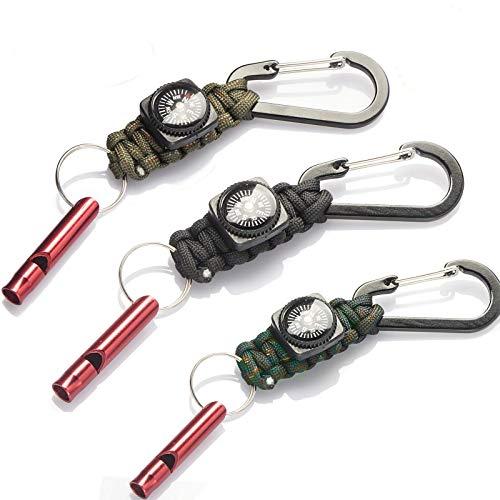 TOLIANCLE 3er Set Survival Paracord Schlüsselanhänger, Karabinerhaken Seil, Schlüsselanhänger Paracord Outdoor Camping mit Karabinerhaken mit Überlebenspfeife für Wandern,Outdoor Survival Camping