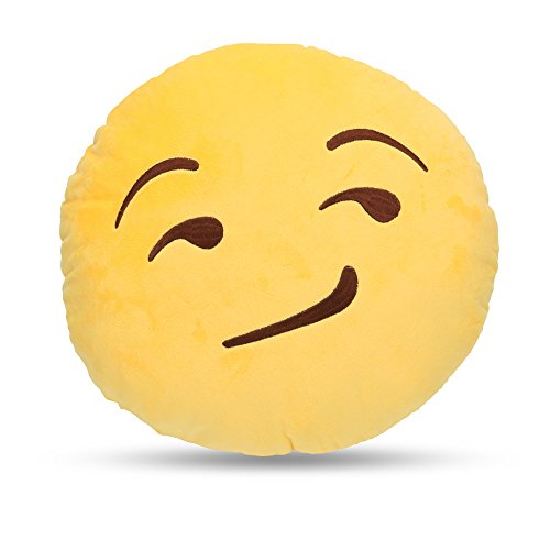 LynnWang Design Emoji Round Cushion Pillow for Home Decor Kids Room, Decorative Plush Pillow for Car Sofa Pets Cushions