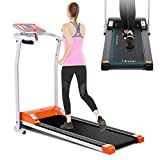 Mauccau Folding Treadmill Electric Motorized Running Machine Portable Treadmill for Home Small Spaces Office Gym Walking Jogging Exercise Fitness Low Noise (Orange)