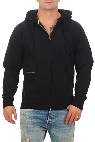 Happy Clothing Herren Kapuzenjacke mit Zip, Schwarz, XXL