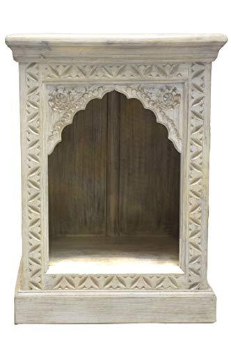 Orientalischer Holz Nachttisch Heba Weiß 60cm groß | Vintage Telefontisch Beistelltisch Deko orientalisch | Indischer Nachtschrank Extra Hoch für Boxspringbett | Asiatische Möbel aus Indien