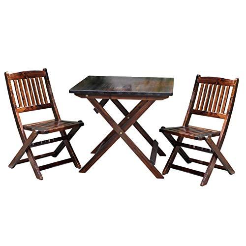 Mesa y silla plegables para patio al aire libre Balcón exterior de 3 piezas Mesa y silla de madera maciza para exteriores, combinación de mesa y silla de comedor de jardín de ocio en casa portátil