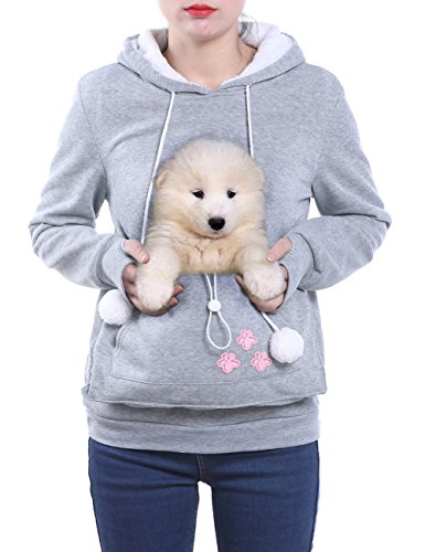 Wangyue Frauen Niedliche Känguru Tasche Hoodie Langarm Pullover Sweatshirt Grau L