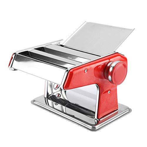 Máquina de fazer macarrão de aço inoxidável Máquina de fazer macarrão manual Manivela Cortador de macarrão 6 configurações de espessura ajustável para espaguete caseiro, fettuccini, caos,