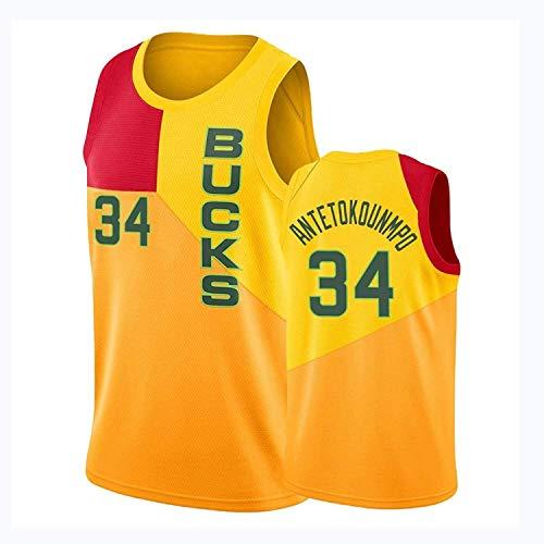 ZEH Milwaukee Bucks 34 Giannis Antetokounmpo - Camiseta de baloncesto con bordado de malla para uniforme de baloncesto (talla XXL: FACAI