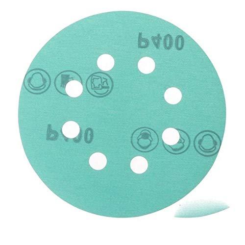 10 piezas de papel de lija profesional anti obstrucción de 125 mm Disco de lijado de película de poliéster de 5'Herramientas abrasivas de gancho y bucle húmedo y seco con grano, 400