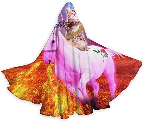 Romance-and-Beauty Capa de Unicornio con Llama para Montar en Arte de Guerrero Adulto, Capa Unisex con Capucha, Capa para Halloween, Fiesta de Navidad, Disfraces de Cosplay