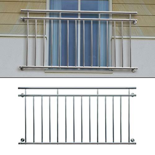ECD Germany Französischer Balkon 100 x 90 cm | mit 7 Füllstäben | glänzend | aus Edelstahl | Balkongeländer Balkongitter Fenstergitter