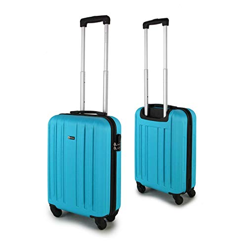 33L Cabin Trolley 4 Spinner Wheels 21' Carry ON ABS Hard Shell Hand Bag Suitcase 55x35x20cm Upto 10KG Priority RYANAIR EASYJET BA TUI (Blue)