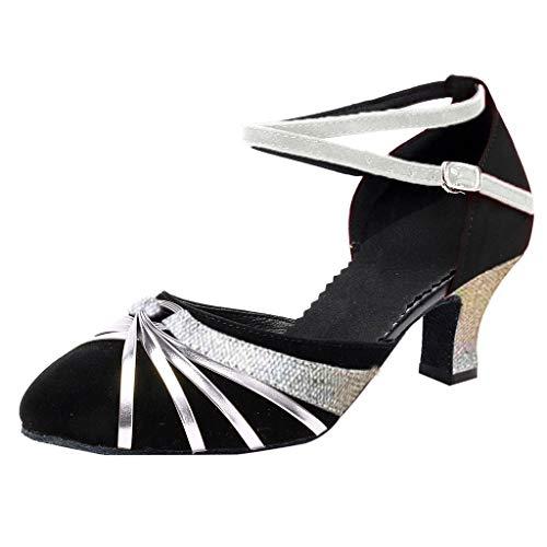 Damen Standard Latein Tanzschuhe Ballsaal Tango Salsa Schuhe Knöchelriemen Mittelhohe Weicher Boden Party Hochzeit, Klassische Pumps Elegante Brautschuhe Celucke (Silber, EU40)