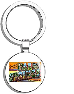 Vintage Greetings from Palm Springs (Old Postcard Art Logo ca) Double Sided Stainless Steel Keychain Key Ring Chain Holder Car/Key Finder