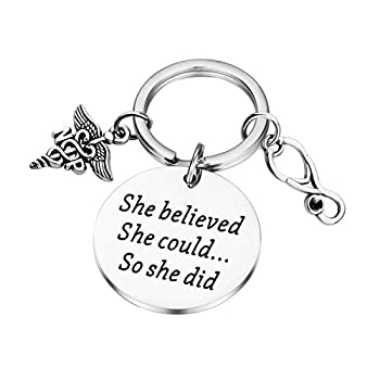 Lywjyb Birdgot NP Graduation Gift Nurse Practitioner Gift NP Gift She Believed She Could So She Did NP Key Chain NP Gift for Women