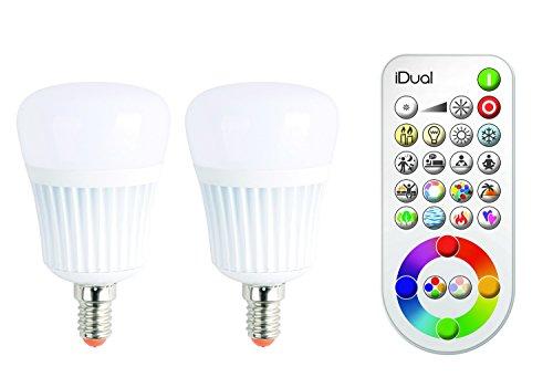 iDual-LED-Leuchtmittel (E14). Verpackungsinhalt: 2 Leuchtmittel plus Fernbedienung. Warmweiß bis Kaltweiß; Dimmfunktionen; Multicolor-Umgebungs- und Stimmungslicht. 470 lm (äquiv. 40 W).