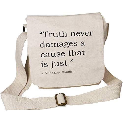 Azeeda Truth Quote By Mahatma Gandhi Small Cotton Canvas Messenger Bag (MS00026000)