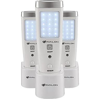 Avalon LED Flashlight Night Light for Emergency Preparedness, Portable Unit with Motion Detection,Power Failure Light, ETL Approved Blackout Light- 3 Pack
