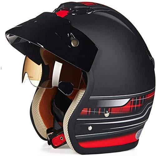 ZHXH Adult Harley Motorradhelm Offener Helm, 3/4 Cruiser Harley Pilotenhelm DOT-zertifizierter Retro-Visier Eingebauter Objektiv-Reisehelm Abnehmbares Futter Motorrad-Scooter-Halbhelm