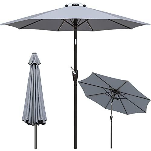 GIKPAL Parasol Inclinable, 2.7M Parasol de Jardin Balcon Protection UV Étanche avec Manivelle et Bouton dInclinaison pour Salon de Jardin Terrasse Extérieur (Grise)