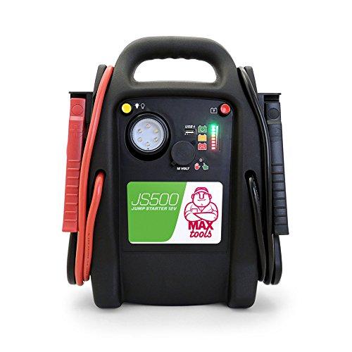 MAXTOOLS JS500, Arrancador de Coches y Batería de Emergencia para Turismos y Furgonetas, Cargador de Batería de Coche, 2200A 22Ah, para Motores de Gasolina y Gasóleo, con Linterna LED y Puerto USB