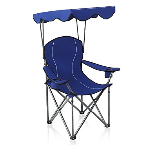 ALPHA CAMP Camp Chairs with Shade Canopy Chair Folding Camping Recliner Support 350 LBS - Navy Blue