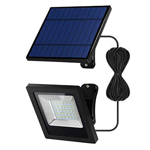 Solar Lights Outdoor-Floodlight Security-Led IP65-Porch - Light with 16.4Ft Cord, Wide Adjustable Solar Panel Lights for Front Door, Yard, Garage, Deck-Cool White
