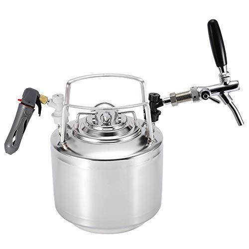 Sistema de barril de cerveza, Grifo Growler de acero inoxidable Kit de dispensador de barril de barril de 6L, 10L, 12L con grifo ajustable Kit de Kegerator portátil para cerveza casera(6L)