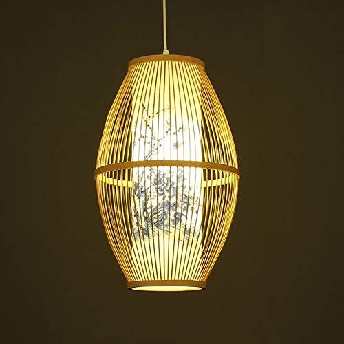 SHUANF Lámpara colgante de linterna de bambú Araña cilíndrica de estilo japonés Luz colgante de ratán tejida a mano ambiental de color primario Accesorio de iluminación de ahorro de energía de cabezal
