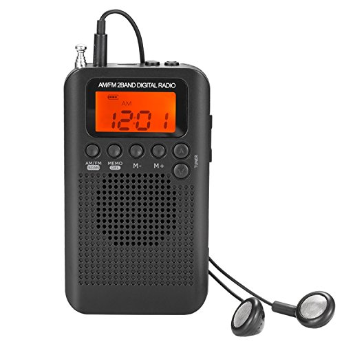 AM FM Pocket Radio with Earphones Mini Portable Alarm Clock Radio Digital Tuning AM FM Stereo Personal Receiver Battery Operated for Walking Running-Black