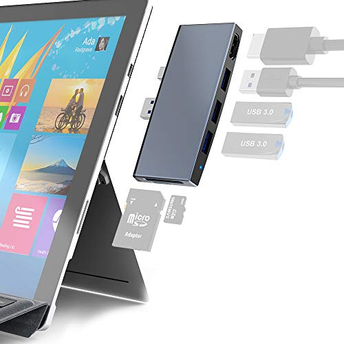 Surface Pro 6 5 4 USB 3.0 Hub/ Docking Station, Takya USB 3.0x3 Hub Adapter, SD & TF/Micro SD Memory Card Reader, Mini DP to 4K HDMI Special Design for Microsoft Surface Pro 6th/ 5th/ 4th Gen