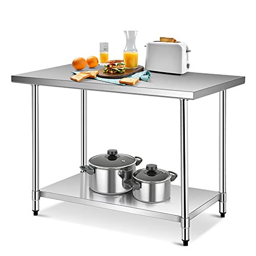 """48"""" x 30"""" NSF Stainless Steel Table, Heavy Duty Commercial Kitchen Food Prep Table & Work Table, Wheels Installable, Adjustable Shelf, by WATERJOY (Without Wheels)"""