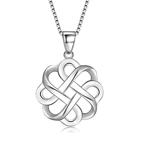 GOXO Collar con colgante de cruz de nudo celta pulido de buena suerte de plata de ley 925 para mujer (Blanco)