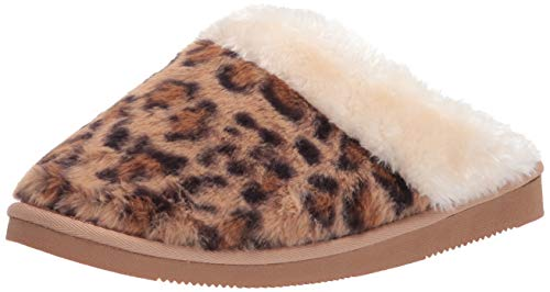 Amazon Essentials Vestido Suéter de Algodón de Rizo Y Modal con Cuello de Pico, Hombro Al Aire Zueco, Leopardo, 38.5 EU