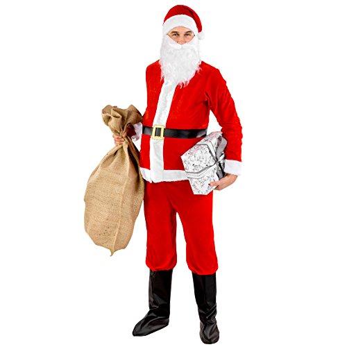 dressforfun Costume da uomo - Babbo Natale | Giacca con chiusura a strappo| Pantaloni con elastico | Gambali in similpelle | incl. Barba con elastico e classico berretto a punta (S | no. 300310)
