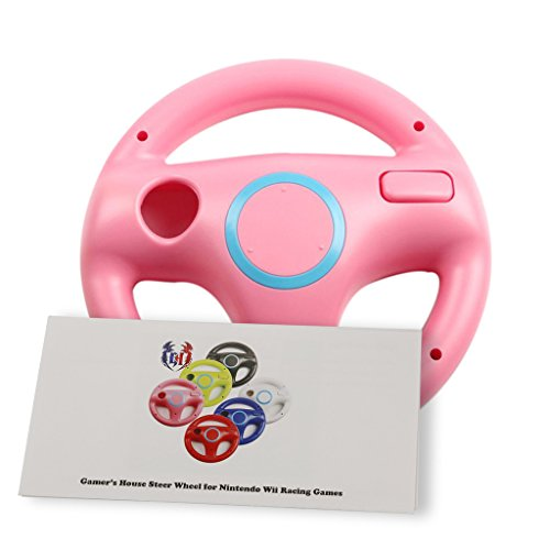GH Wii Steering Wheel for Mario Kart 8 and Other Nintendo Remote Driving Games, Wii (U) Racing Wheel for Remote Plus Controller - Peach Pink (6 Colors Available)