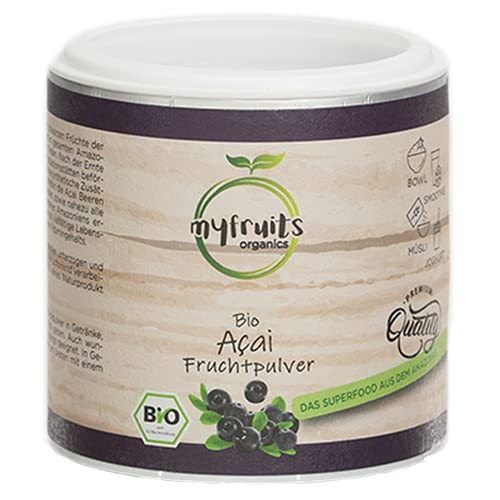 myfruits® Premium Bio Acai Pulver - ohne Zusätze, dunkelviolett. Das Superfood aus dem Amazonas. Aus 3,6 kg frischen Acai Beeren (200g)