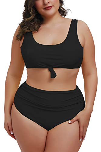Pink Queen Women Plus Size Tie Knot Tummy Control Bikini Set Ruched 2 Piece Bathing Suit Swimwear Black 4XL