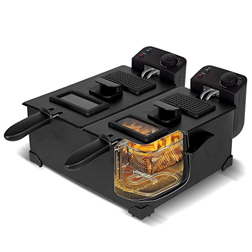 Kaltzonen Doppel-Fritteuse 2x 3L mit herausnehmbarem Öl-Behälter (spülmaschinenfest), Temperatur: 0-190°C, Schwarz Edelstahl