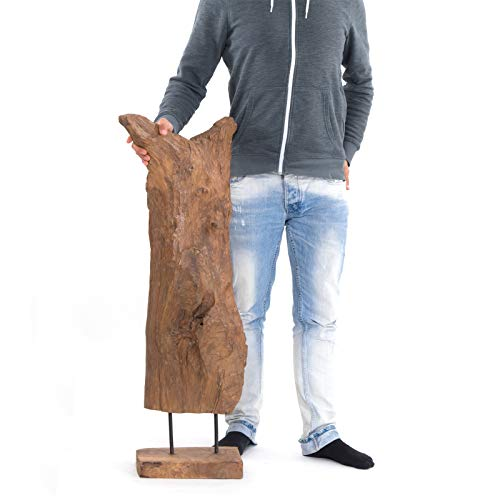 "Wurzelholz Treibholz Skulptur \""ROOTS 80\"" | natur, 70-80cm Teakholz | Design Holzskulptur, Unikat Figur aus Teak mit massivem Sockel"