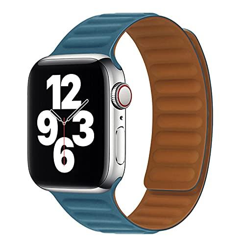 Silicona Deporte Correa con Cierre Magnético Compatible con iWatch 44mm 42mm 38mm 40mm,Ajustable Repuesto Pulseras Compatible con Apple Watch Series SE/6/5/4/3/2/1,Deportiva Bandas,Azul,42mm/44mm