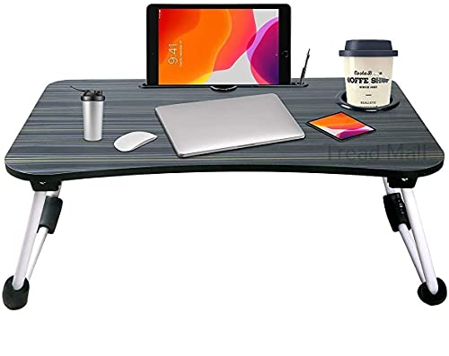 Tread Mall Home Office Lap Desk, Laptop Desk, Foldable Laptop Stand for Working, Writing, Gaming and Drawing, Wooden Black Top and Aluminum Alloy Legs