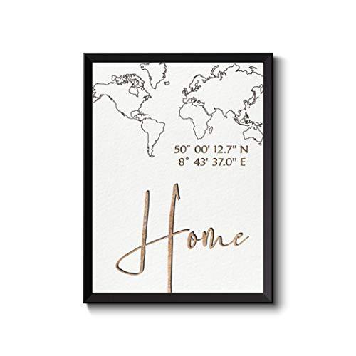 Bild, Poster, gps-Koordinaten mit Weltkarte Goldtöne, mit Home oder Zuhause mit Ihrem Angaben personalisiert Druck Illustration, Größen- und Rahmenoption Home Geschenk Richtfest Einweihung Geburtstag