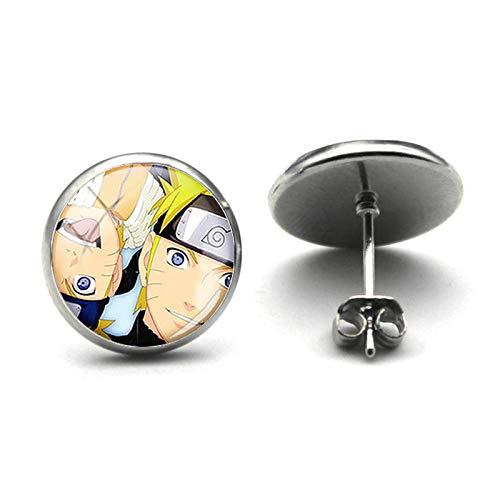 Anime Naruto Uchiha Sasuke Pendientes de tuerca con diseño de dibujos animados y fotos de cristal de cabujón pendientes de cosplay joyas regalos sangre anime regalo infantil