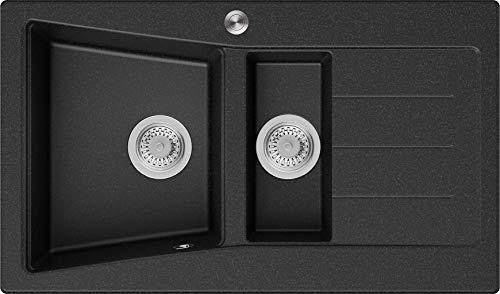 Granitspüle Graphit 88 x 52 cm, Spülbecken + Siphon Pop-Up, Küchenspüle ab 60er Unterschrank, Einbauspüle Madrid von Primagran