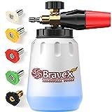 Bravex Foam Cannon, Premium Snow Foam Lance with 1/4' Quick Connector, Adjustable Car Wash Foam Blaster and Wide Neck Foam Sprayer for Pressure Washer